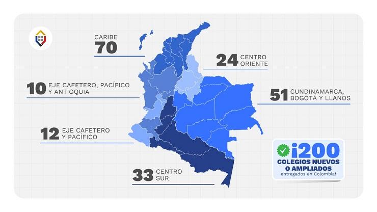 Mapa entregas de infraestructura educativa en el país